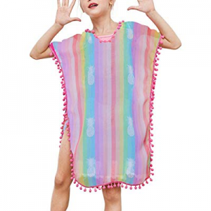 TUONROAD 3D Printed Girls Swimsuit Cover Ups Summer Beach Bathing Suit Waps for 3-12T now 30.0% off