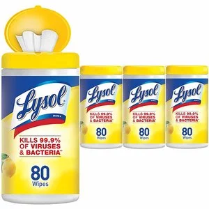 Lysol 清新檸檬和青檸花香消毒濕巾80片 4盒 共320片 @Amazon