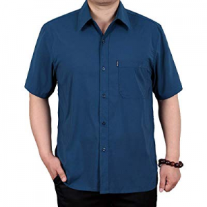 One Day Only!Fastkoala Men's Big and Tall Short Sleeve Casual Button Down Shirts Solid Collar Shir..