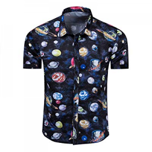 One Day Only!Men's Fashion Hawaiian Shirts Slim Fit Beach Printed Casual Short Sleeve Button Down ..