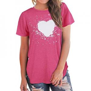 Women's Graphic Summer T Shirt Heart Printed Short Sleeve Tops Valentine's Day Girls Tee now 70.0%..