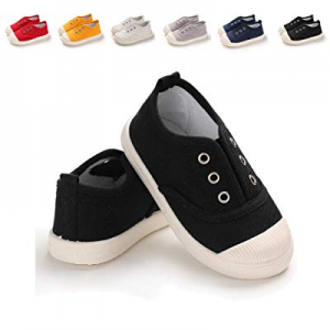 10.0% off ENERCAKE Toddler Kids Canvas Sneakers Baby Boys Girls Candy Color Slip-on Lightweight Ca..