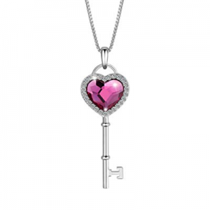 SIVERY Key to Heart Love Heart Women Pendant Necklace Jewelry now 80.0% off , Made with Rose Swaro..