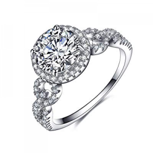 UMODE 925 Silver Halo Solitaire Cubic Zirconia Cz Engagement Wedding Ring for Women now 70.0% off
