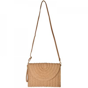 Outrip Straw Crossbody Bag Rattan Handbag Cell Phone Purse with 2 Leather Straps now 50.0% off
