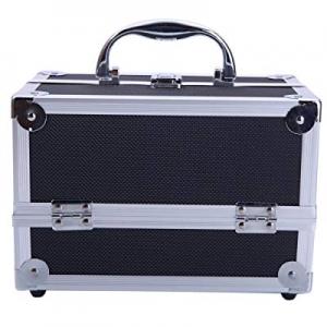 "Tenozek Aluminum Makeup Train Case Jewelry Box Cosmetic Organizer with Mirror 9""x6""x6"" Black now 8.."
