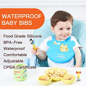 One Day Only!50.0% off UNCLE WU Parent Silicone Baby Bibs Easily Wipe Clean! BPA Free Safe Bibs. U..