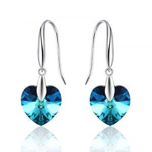Kemstone Silver Tone Iridescent Crystal Heart Dangle Earrings Jewelry for Women now 30.0% off