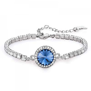 Kemstone Luxury Silver Tone Iridescent Amethyst/Sapphire Crystal Tennis Bracelet for Women Girls n..