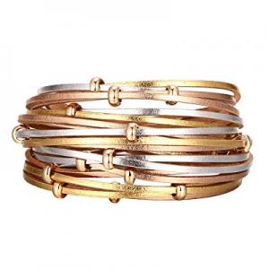 45.0% off Fesciory Women Multi-Layer Leather Wrap Bracelet Handmade Wristband Braided Rope Cuff Ba..