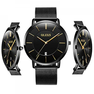 One Day Only!50.0% off OLEVS Men Women Analog Quartz Business Watch Stainless Steel Classic Waterp..