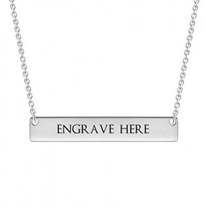 One Day Only!Hybedora Personalized Bar Necklace now 65.0% off , Engraved Birthstone Custom Name Ne..