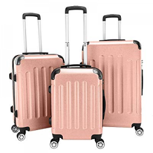 One Day Only!Lovinland Travel Luggage 3 Piece Set 20'' 24'' 28'' ABS Storage Suitcase Rose Gold no..