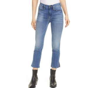 FRAME Le High Straight Slit Hem Ankle Jeans