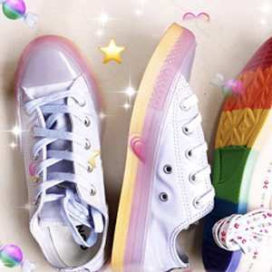 Converse All Star Low Trainers Oxygen Purple White Fresh Yellow Ice Exclusive Sale @Office shoes