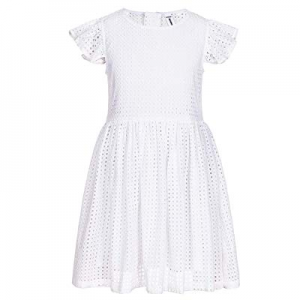 One Day Only!BOBOYOYO Girl's White Floral Lace Dress Birthday Dress with Cap Sleeves Above Knee Le..