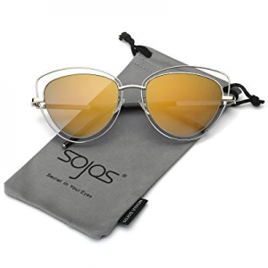 SOJOS Women's Double Wire Double Rimmed UV400 Cat Eye Sunglasses SJ1046 SJ1047 now 70.0% off