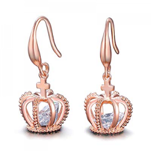 One Day Only!UMODE 18K Rose Gold Tone Cubic Zirconia Jewelry Crown Drop Earrings now 55.0% off