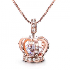 One Day Only!UMODE Womens Queen Crown Pendant Necklace 3 Lays Rose Gold/Platinum Plated with Cubic..