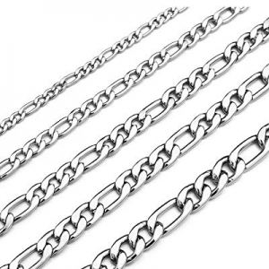 30.0% off Monily 16 Inches 30 Inches Figaro Chain Necklace 4mm 8.5mm Stainless Steel Figaro Link C..