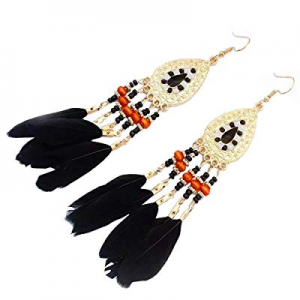 SOSUSHOE Ethnic Feather Dangling Earrings for Womens Bohemian Long Eardrop for Weddings Parties no..