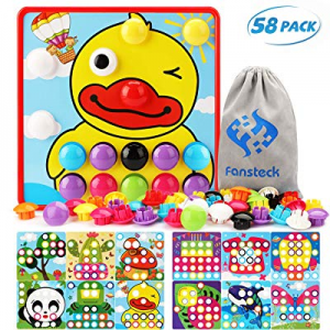 Fansteck Button Art Toys for Toddlers now 40.0% off , Color Matching Early Learning Educational Mo..