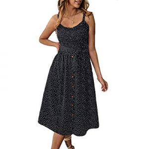 Oubaybay Women Casual Sleeveless Dress Button Down Polka Dot Summer Dresses with Pocket now 50.0% ..