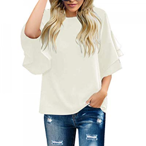 GRAPENT Women's Casual Crewneck Tiered 3/4 Bell Sleeves Blouse Loose Tops Shirt now 62.0% off
