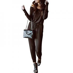 10.0% off PRETTYGARDEN Women's Casual Off Shoulder Long Sleeves Drawstring Belt Stretchy Jumpsuit ..