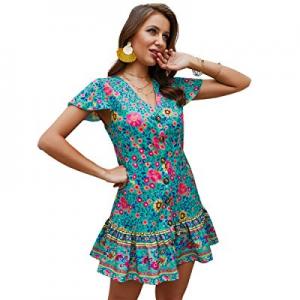 Halfword Women's Sleeveless V Neck Ruffles Boho Floral Printed Mini Dress now 65.0% off