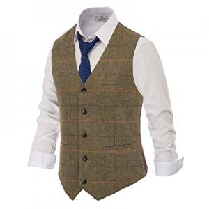 PJ PAUL JONES British Style Wool Tweed Suit Vest Mens Slim fit Vintage Waistcoat now 40.0% off