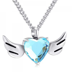50.0% off Yinplsmemory Cremation Jewelry Love Heart Angel Wings Urn Necklace for Ashes Stainless S..