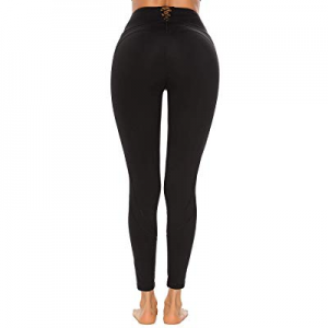 One Day Only!Women High Waisted Compression Yoga Pants Cross Lace Up Full Length Workout Leggings ..