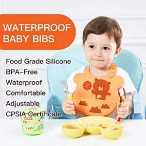 One Day Only!UNCLEWU Baby Waterproof Safe Silicone Bibs now 60.0% off ,Easy Catch Food ,Easy Clean..