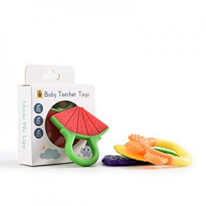 One Day Only!UNCLE WU Infant Teething Toys Set of 4  now 50.0% off ,Freezer Safe Soothing Teether ..