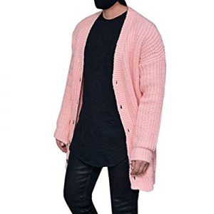 One Day Only!PASLTER Mens Cable Knit Sweater Cardigan Winter Outerwear Open Front Button Closure w..