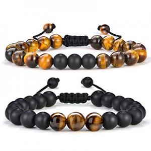 One Day Only!55.0% off MONOZO Beaded Bracelets for Men Women - 8mm Tiger Eye Bead Bracelet Adjusta..