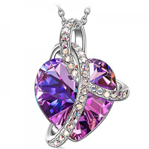 S SIVERY 'Love Heart' Fashion Jewelry Women Necklace with Purple Swarovski Crystals, Gifts for Mom..