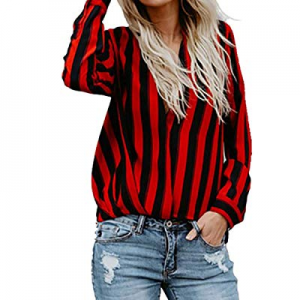 One Day Only!CNFIO Womens Short Sleeve Shirts Summer V Neck Button Down Casual Shirt Tops Blouses ..