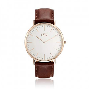 One Day Only!GEORGE · SMITH Classic His and Hers Couples Genuine Leather Band Quartz Wrist Watches..