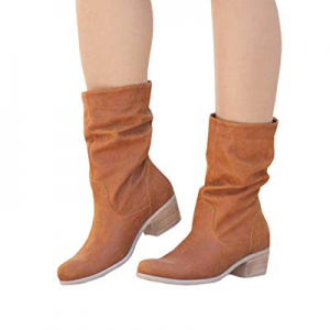 Ermonn Womens Mid Calf Slouch Boots Faux Leather Low Stacked Heel Fall Riding Boots now 40.0% off