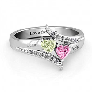 Custom Promise Ring with 2 Heart Birthstone now 75.0% off , Sterling Silver Personalized Engraved ..
