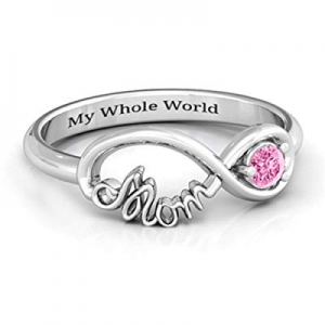 Personalized Infinity Mothers Ring with Birthstone now 75.0% off , Custom Sterling Silver Engraved..