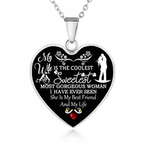 FAYERXL Ideas to My Wife Women Girl from Husband Men Boy Heart Gift Necklace now 70.0% off