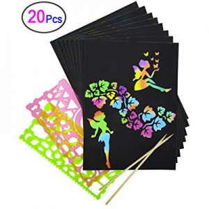 Rainbow Scratch Paper, Mega Value 20 Sheet Rainbow Art Scratch Boards.(2 Stylus and 2 rulers) now ..