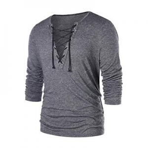 One Day Only!PASLTER Mens V Neck Long Sleeve Hipster Hip Hop Lace Up Cotton T-Shirts now 55.0% off