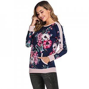 One Day Only!Women's Casual Stylish Sweatshirts Round Neck Long Sleeve T-Shirts with Pockets now 6..