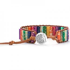 35.0% off Hamoery Women Men Imperial Jasper Chakra Bracelet Handmade Leather Sunflower Adjustable ..