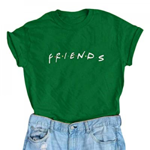 Umeko Womens Friends T Shirts Cute Funny Summer Graphic Tees Tops now 70.0% off
