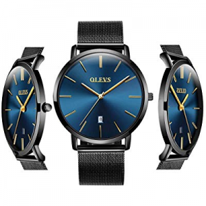 30.0% off Inexpensive Blue Watches - OLEVS Men Women Analog Quartz Business Watch Stainless Steel ..